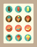 Ice-cream flat icons. Set of flat design icons. Different kinds of ice-cream Royalty Free Stock Image