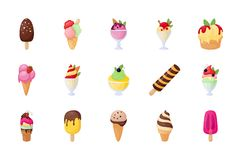 Set of Ice Cream Flat Vector Icons vector illustration