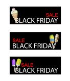 Ice cream and Flavored Ice on Black Friday Sale Banner. Illustration of Delicious Ice cream Cones and Popsicles on Black Friday Shopping Banner for Start Royalty Free Stock Images