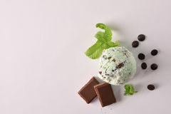 Ice cream flavored mint choco background top view isolated. Ice cream flavored mint choco texture background with ball isolated on white table. Garnished with stock photos