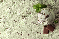Ice cream flavored mint choco background top view. Ice cream flavored mint choco texture background with ball. Garnished with mint leaves and chocolate squares stock image