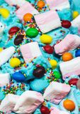 Ice cream flavored with sweets and marshmallows Royalty Free Stock Photos