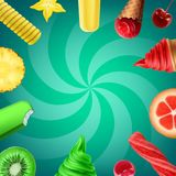 Ice cream flavors. Vector illustration of collection flavors of ice cream with fruit and various ice creams isolated on green background Royalty Free Stock Photography