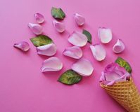Ice cream flower rose.Spring.Wafer waffle for ice cream and rose petals.View from above. stock image