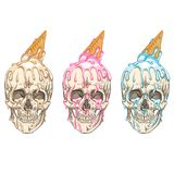 Ice cream flows over the skull. royalty free stock photos