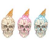 Ice cream flows over the skull. stock illustration