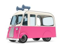 Ice Cream Food Truck Isolated. On white background. 3D render Stock Images