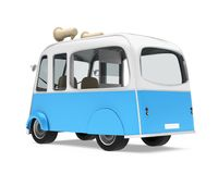 Ice Cream Food Truck Isolated. On white background. 3D render Royalty Free Stock Photo