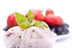 Ice-cream with fresh berries stock image