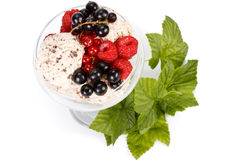 Ice-cream with fresh berries royalty free stock photography
