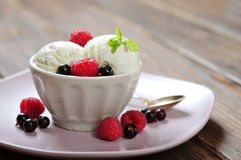 Ice cream with fresh berries Royalty Free Stock Photo