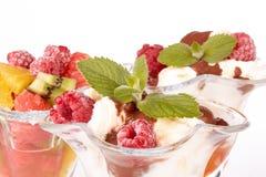 Ice cream and fresh fruit salad. Stock Photography