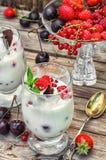 Ice cream with fresh fruit Stock Photo