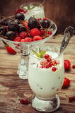 Ice cream with fresh fruit Royalty Free Stock Photography