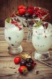 Ice cream with fresh fruit Royalty Free Stock Photos