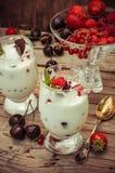 Ice cream with fresh fruit Stock Photography