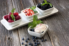 Ice cream with fresh raspberries and blueberries. Balls of ice-cream garnished with berries on white plate Stock Photography