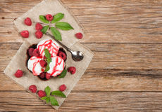 Ice cream  with fresh  raspberries and leaves from top on table Royalty Free Stock Photo