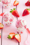 Ice cream with fresh strawberries Royalty Free Stock Photos