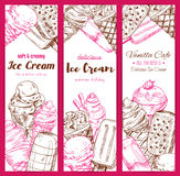 Ice cream frozen desserts vector banners sketch. Ice cream vector sketch banners. Frozen fruity desserts assortment set of sweet glazed eskimo with whipped cream Royalty Free Stock Photography