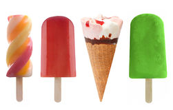 Ice cream and frozen ice lollies set. Set of four frozen lollies and icecream over a white background Royalty Free Stock Photography