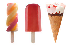 Ice cream and frozen ice lollies set. Set of three frozen lollies and icecream over a white background Stock Images
