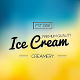 Ice Cream and Frozen Yogurt Logo. Vector vintage Emblem. Summer Logo design element. Retro label for Creamery. Stock Photography