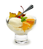 Ice cream with fruit Stock Photography