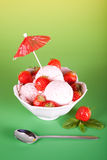 Ice cream with fruit Royalty Free Stock Images