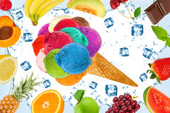 Ice cream fruit concept Stock Images