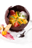 Ice cream and fruit dessert Stock Image