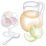 Ice cream, fruit and juice Stock Image