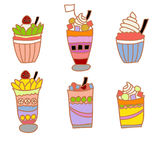 Ice cream and fruit juice vector Royalty Free Stock Photos