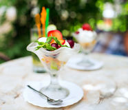 Ice cream with fruit Stock Image