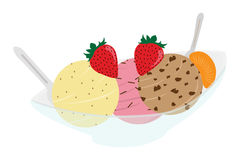Ice Cream and Fruit. Tasty Ice Cream in multiple flavors, with fruit Royalty Free Stock Photography