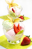 Ice cream with fruits Royalty Free Stock Image