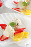Ice cream with fruits royalty free stock photo