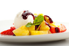 Ice Cream. With Fruits and Berries royalty free stock photo