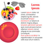 Ice cream with fruits and berries, sunglasses and heat. Flat lay style. Vector illustration stock illustration