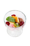 Ice cream with fruits in Cocktail glass Stock Photo
