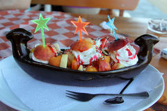 Ice cream with fruits Stock Photography