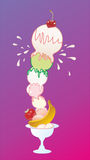 Ice cream and fruits. On a pink background Royalty Free Stock Photography