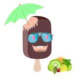 Ice cream, fun, cartoon image on a white background. royalty free stock photos