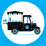Ice cream and gelato cart. Creative detailed vector ice cream and gelato street truck, three colours design on three layers, easy to change colours. Pile of stock illustration
