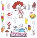 Ice cream and girl. Ice cream girl on white background Royalty Free Stock Image