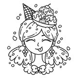 Ice cream girl. Smile girl. Ice cream girl. Vector illustration. Coloring page. Black and white illustration Royalty Free Stock Images