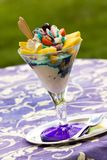 Ice cream in glass bowl on green background Royalty Free Stock Photography