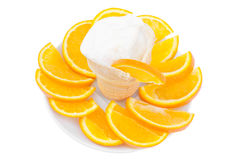 Ice-cream in a glass with sliced orange Royalty Free Stock Photo