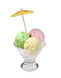 Ice cream in a glass vase. Royalty Free Stock Images
