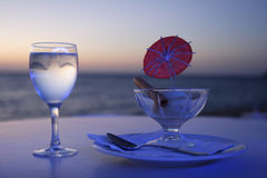 Ice cream and glass of water, Royalty Free Stock Image